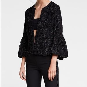 Black Lace Open Blazer with Bell Sleeves
